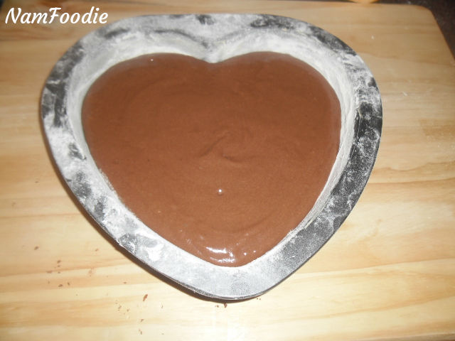 chocolate heart cake batter pan