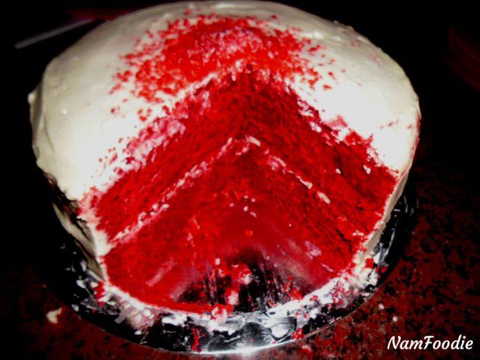 Red velvet cake cut