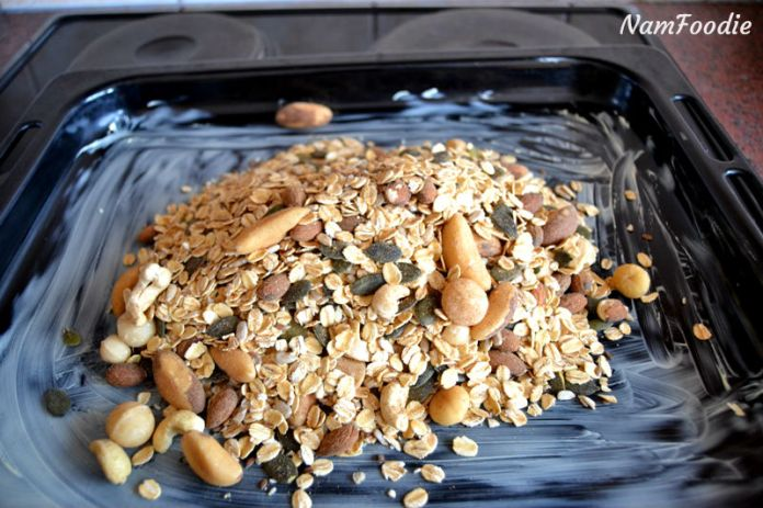Homemade granola mix pan