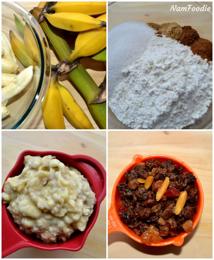 Festive banana bread ingredients