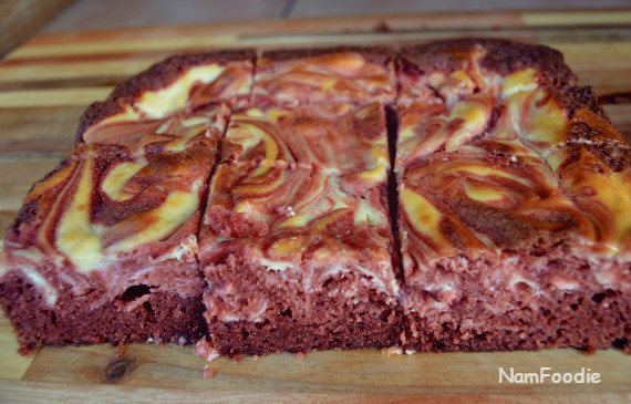 Red velvet cheesecake swirl brownies slices sides