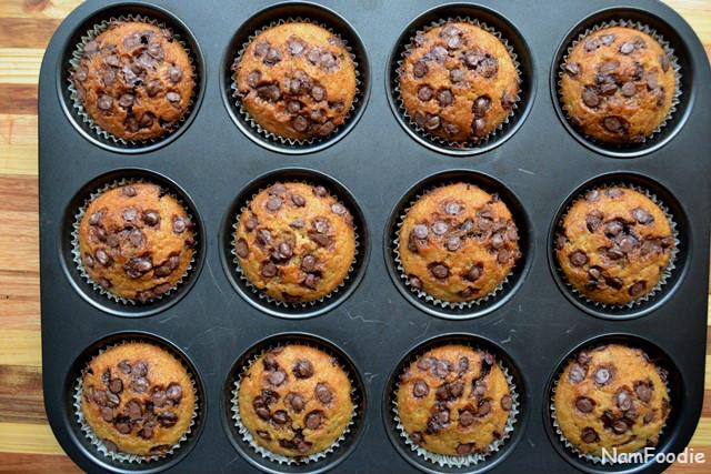 Banana chocolate chip muffins done