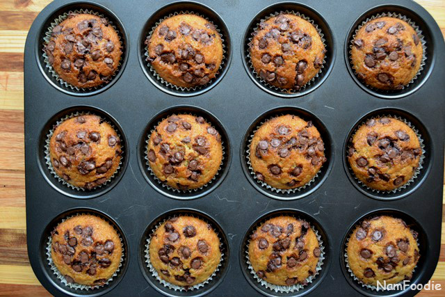 Banana chocolate chip muffins done