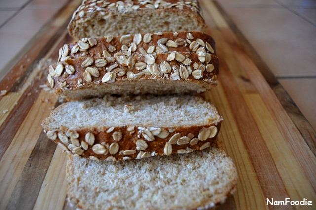 Honey oat bread slice